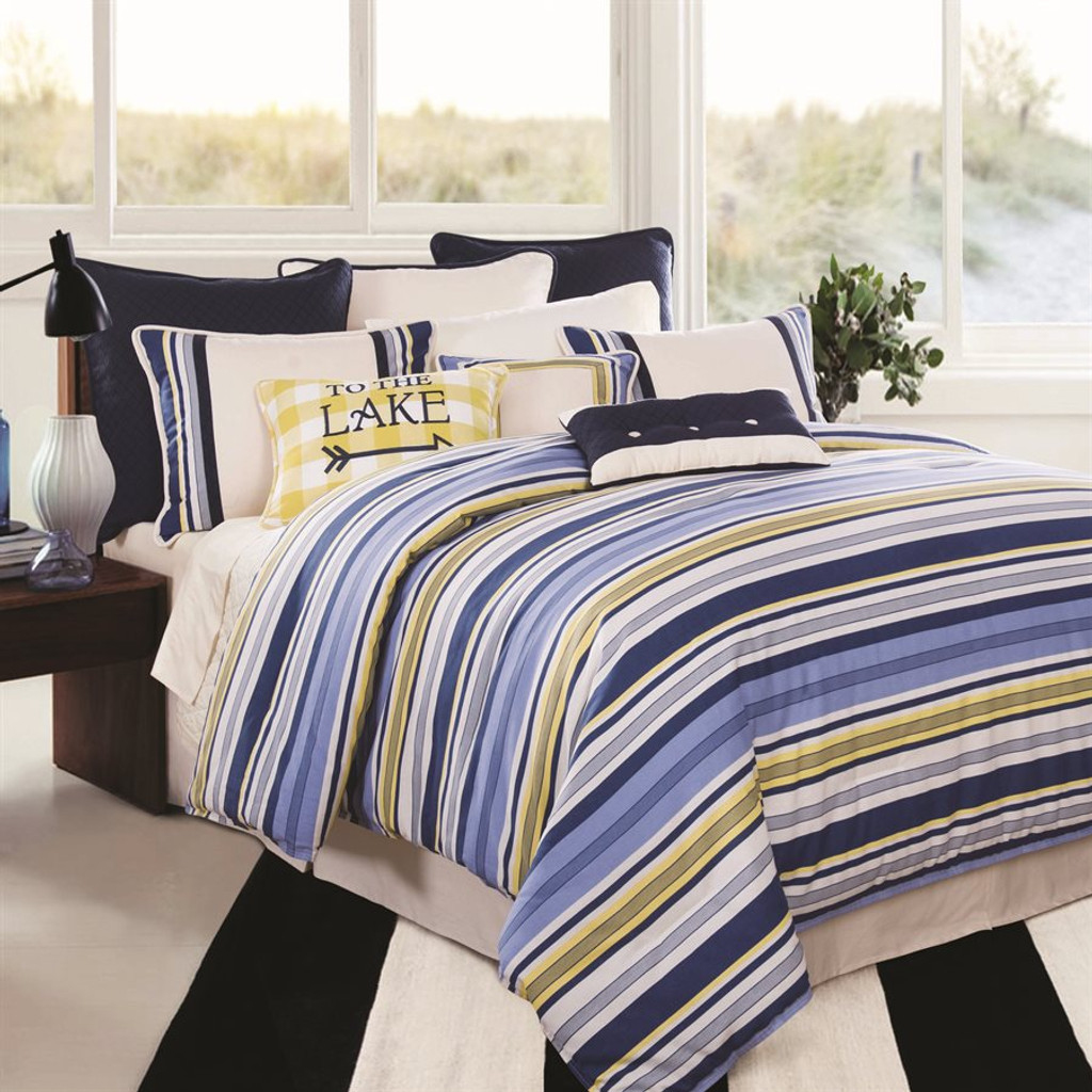 To the Lake Yellow Plaid Pillow with Raya Bedding