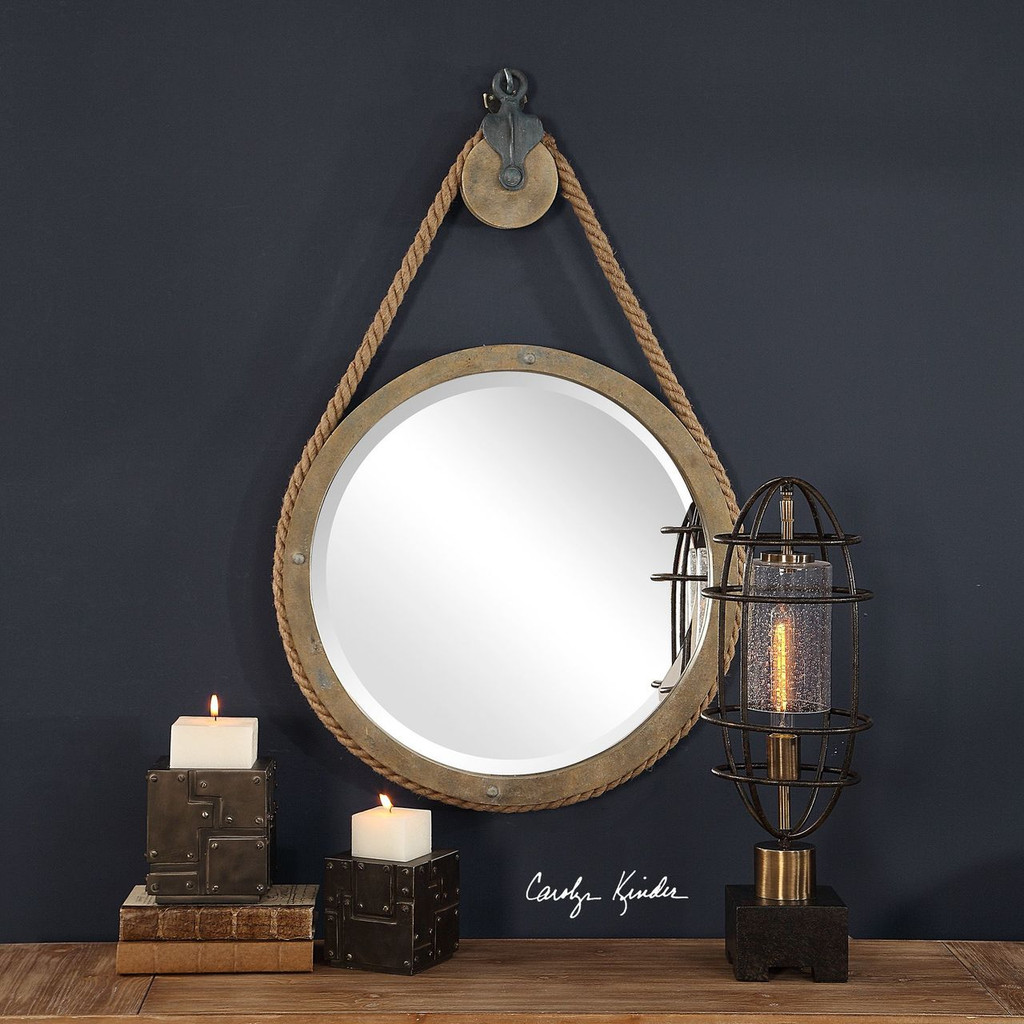 Maritime Pulley Round Mirror wall view 2