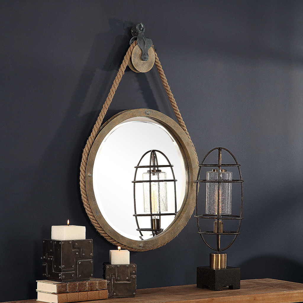 Maritime Pulley and Rope Round Mirror wall view