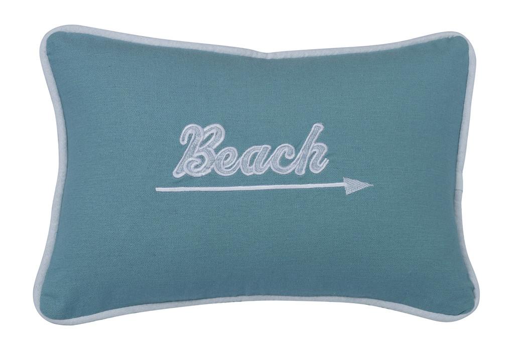 Embroidered Aqua Beach and Arrow Pillow