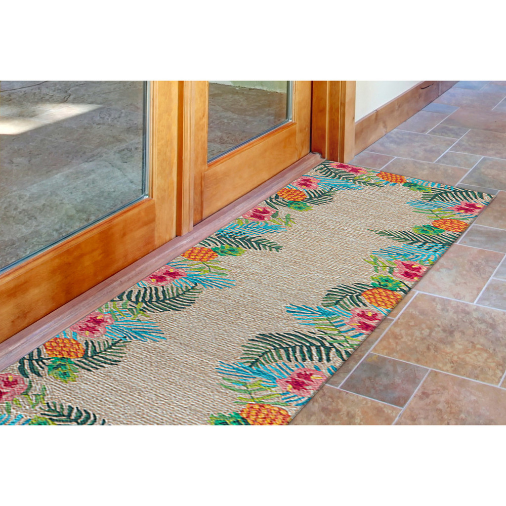 Tropic Botanical Border Rug front door view