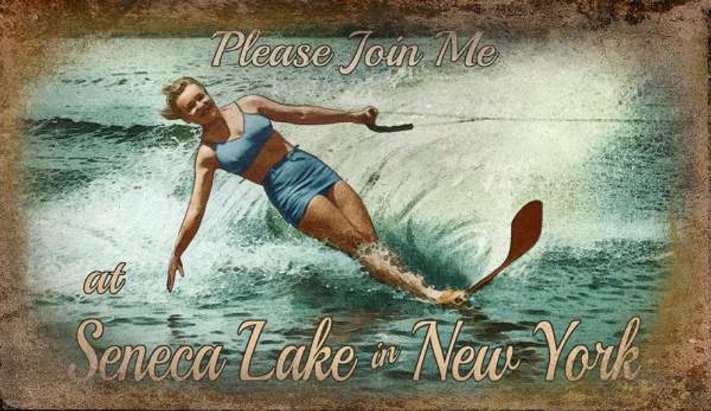 Ski Seneca Lake Custom Art Sign