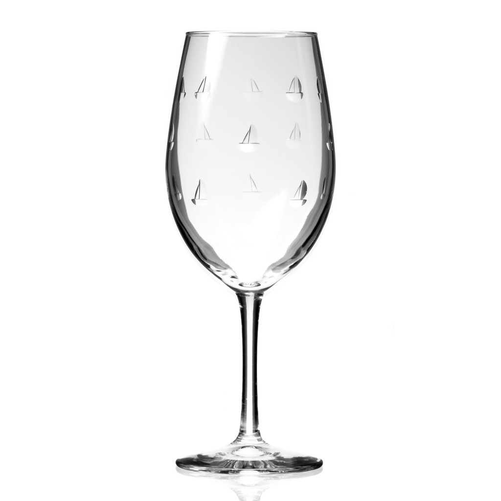 Sailing Etched Wine Glasses - single image
