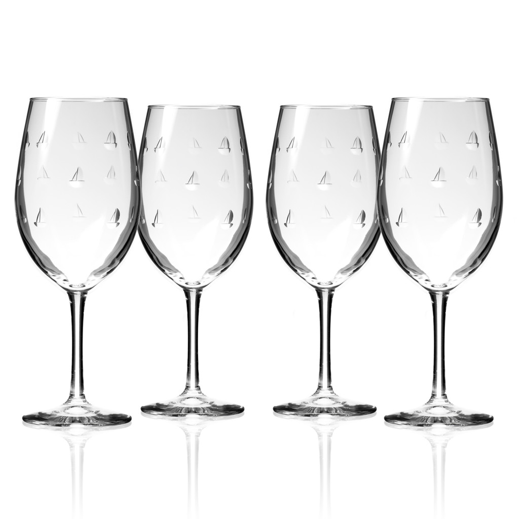 Sailing Etched Wine Glasses - Set of 4