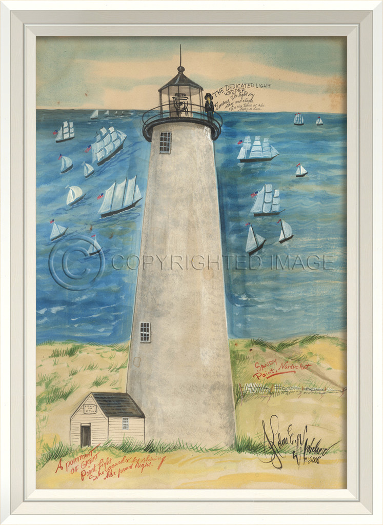 Great Point Lighthouse Art with White Frame