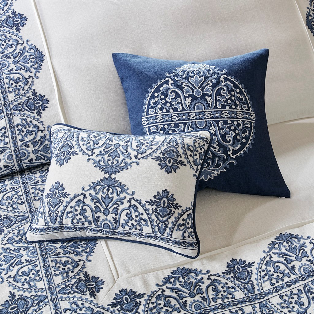 Indigo Skye Oversized Queen Size Comforter Set dec pillows close up