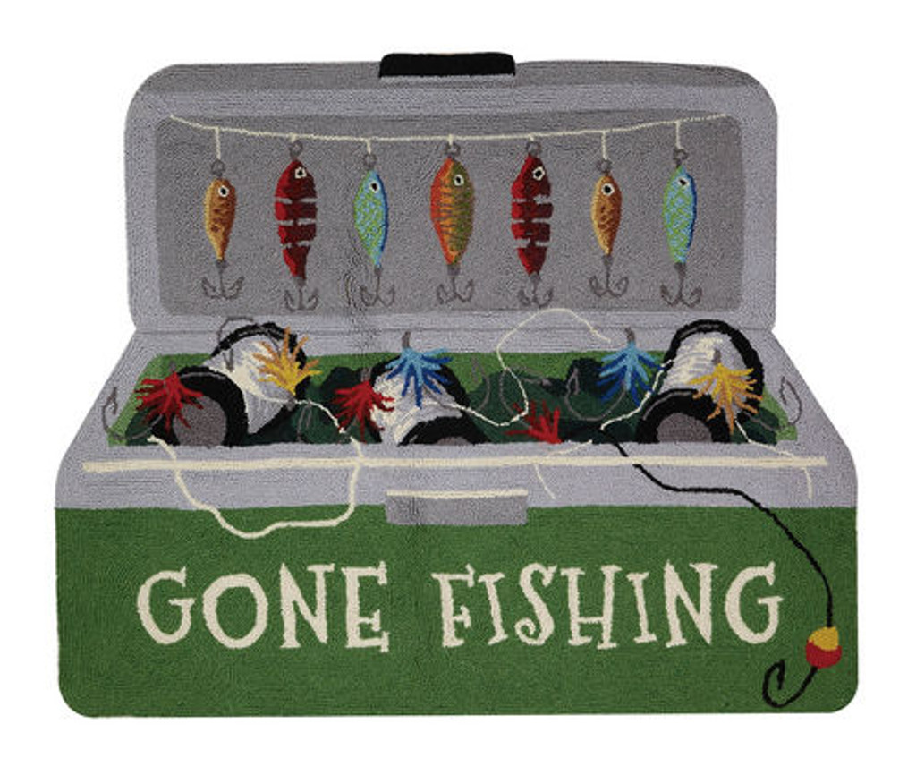 Gone Fishing Wool Hooked Accent Rug