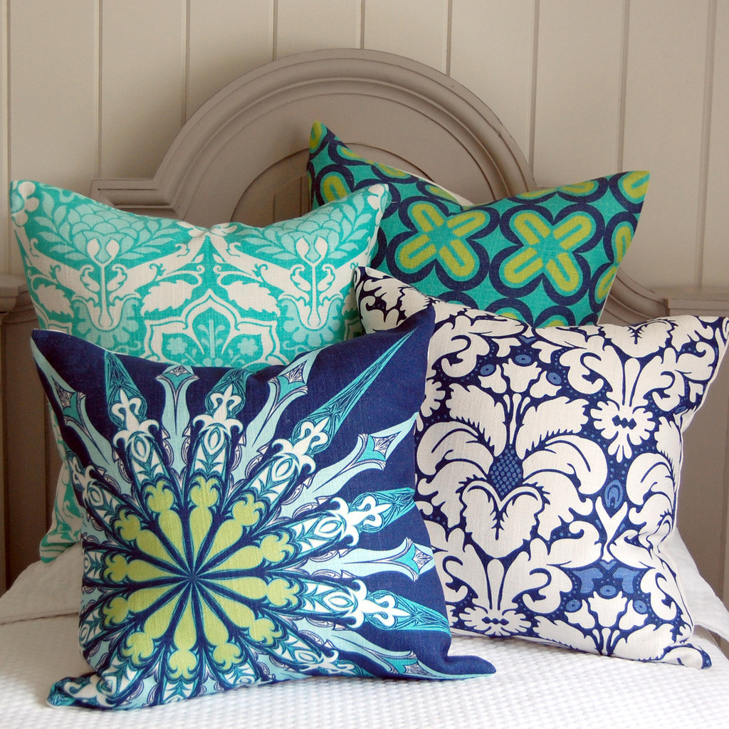 Navy Ornate Compass Luxury Pillow in group