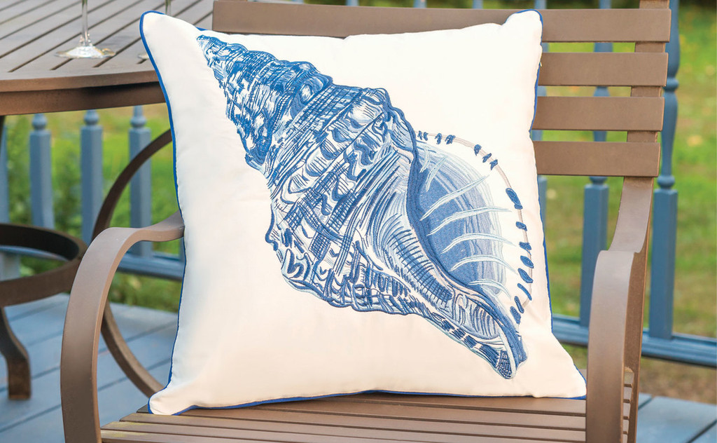 Blue Conch Shell Outdoor Sunbrella® Pillow room view