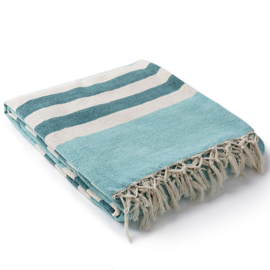 Mint and Teal Harbor Striped Throw side view