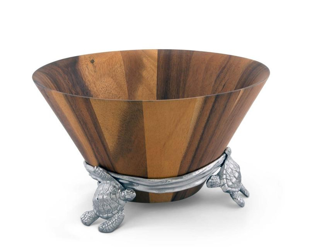 Sea Turtle Wood and Pewter Salad Bowl view 2