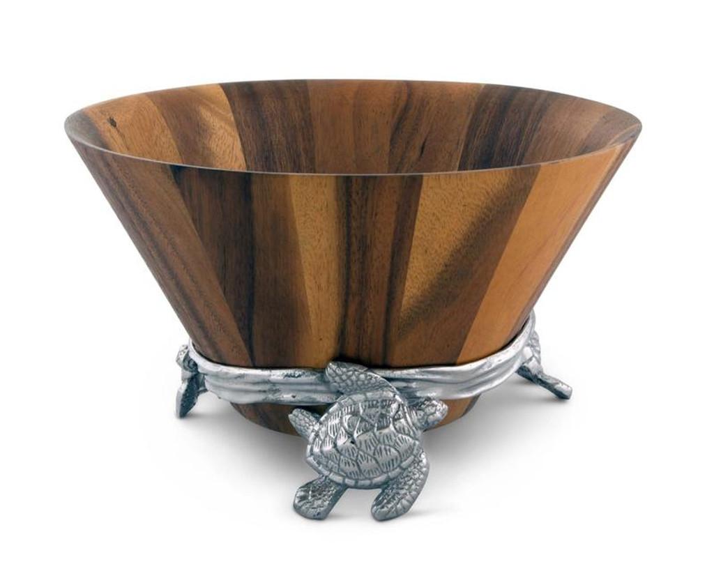 Sea Turtle Wood and Pewter Salad Bowl