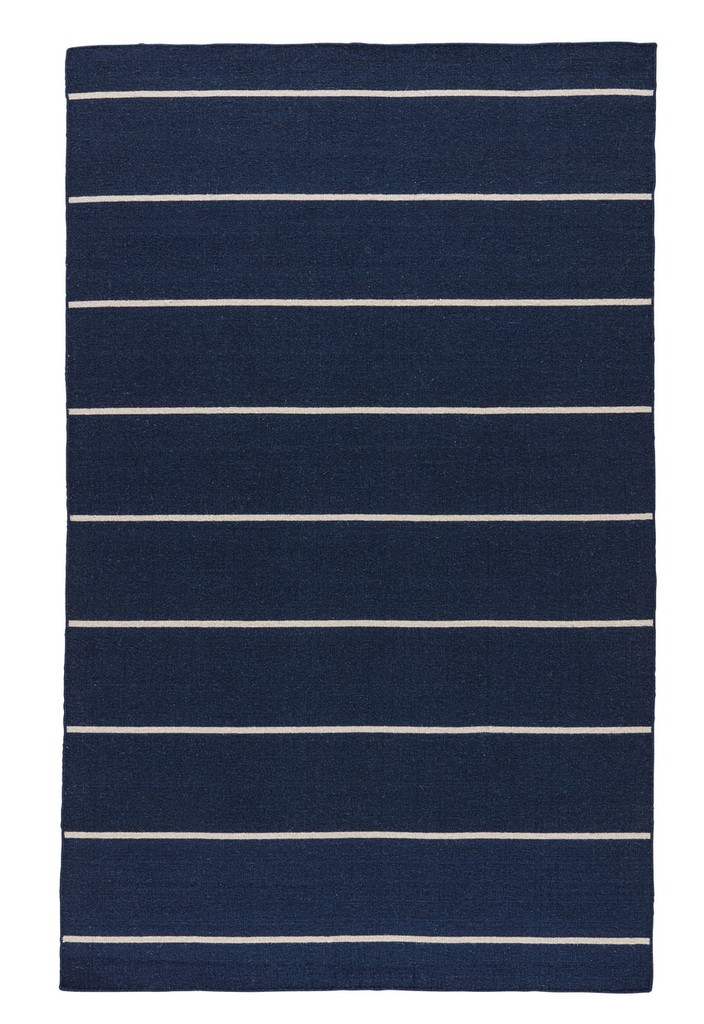 Coastal Shores Navy Blue Striped Wool Rug front