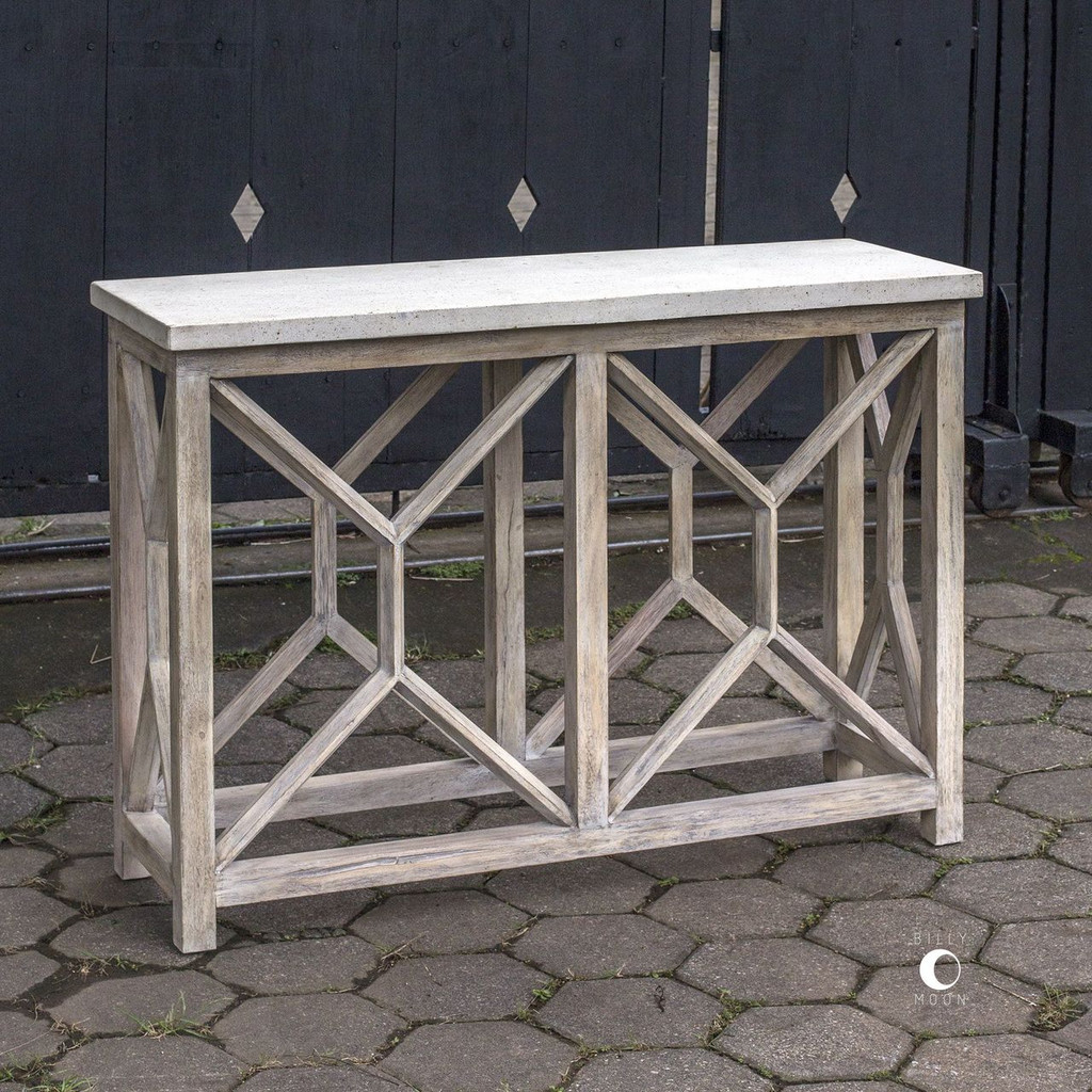 Catali Ivory Stone Console Table view 2