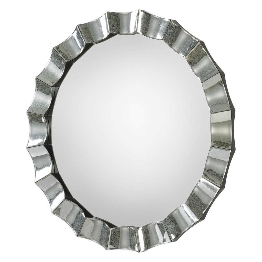 Atlantic Scalloped Silver Round Mirror