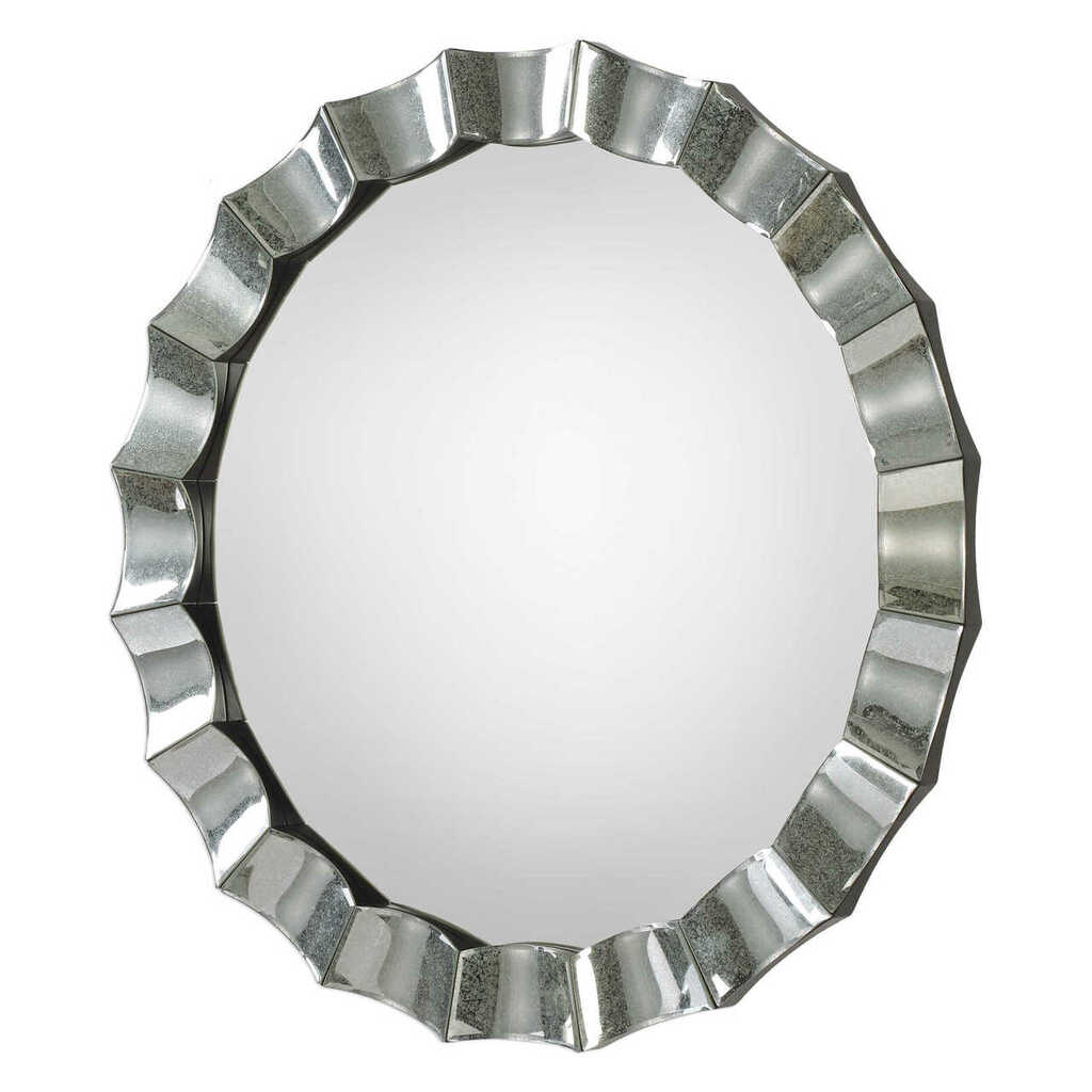 Atlantic Scalloped Silver Round Mirror side view