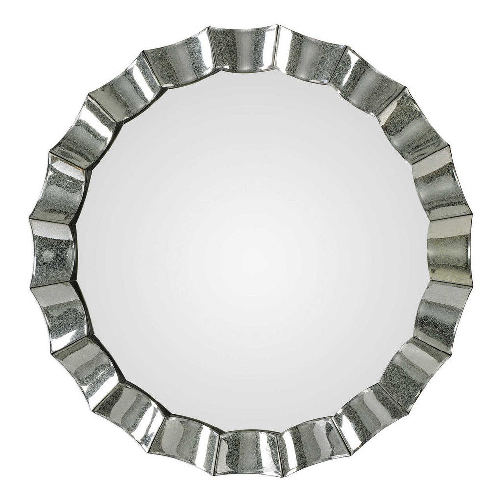 Atlantic Scalloped Silver Round Mirror front view