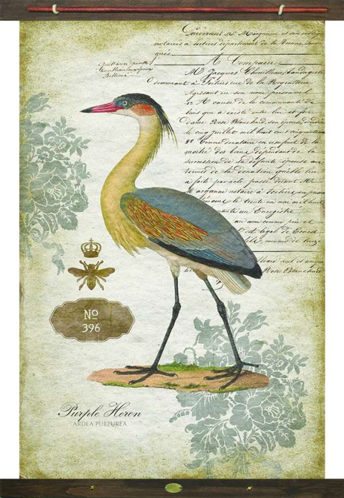 Heron Vintage Canvas Tapestry Wall Art