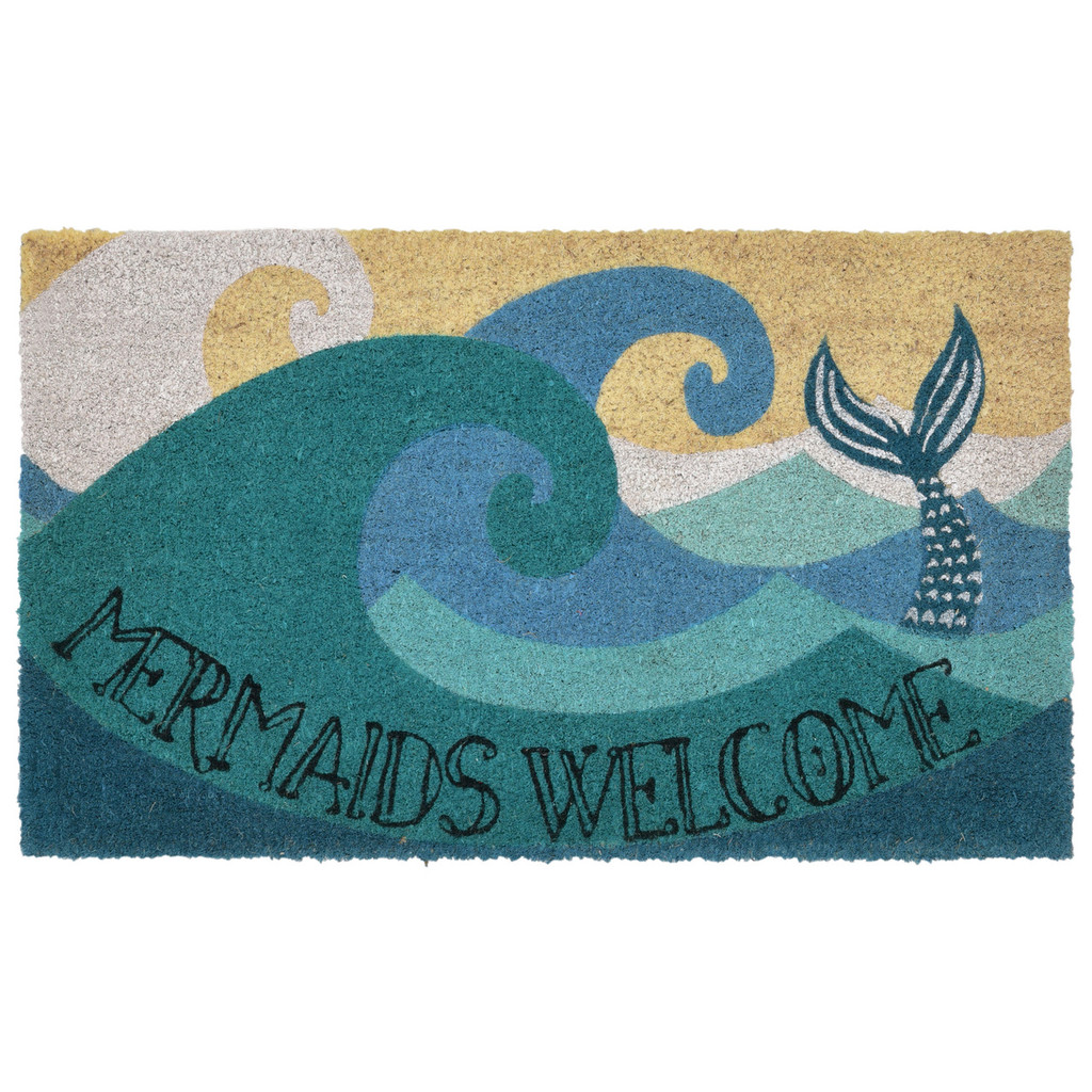 24 x 36 Mermaids Welcome Natura Coir Door Mat