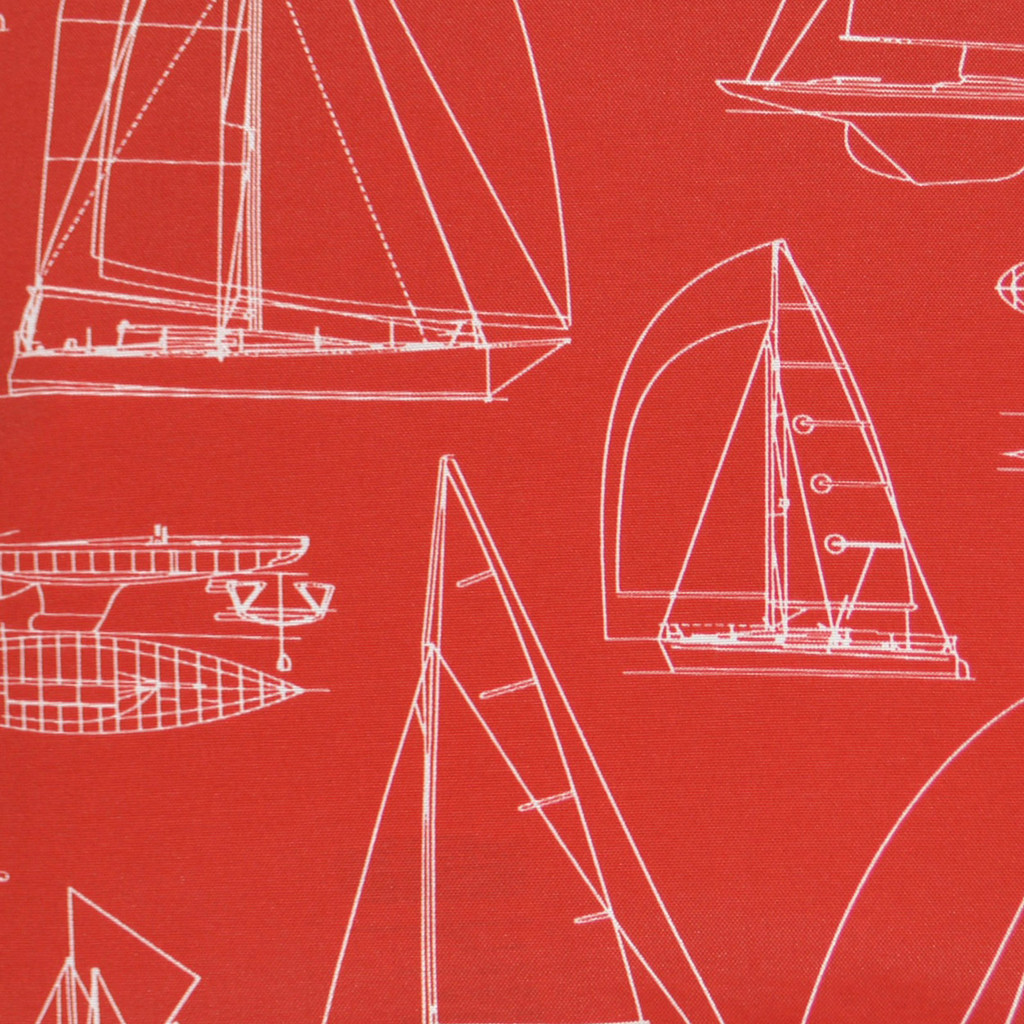 Sail Boat Outline Luxury Pillow - Red