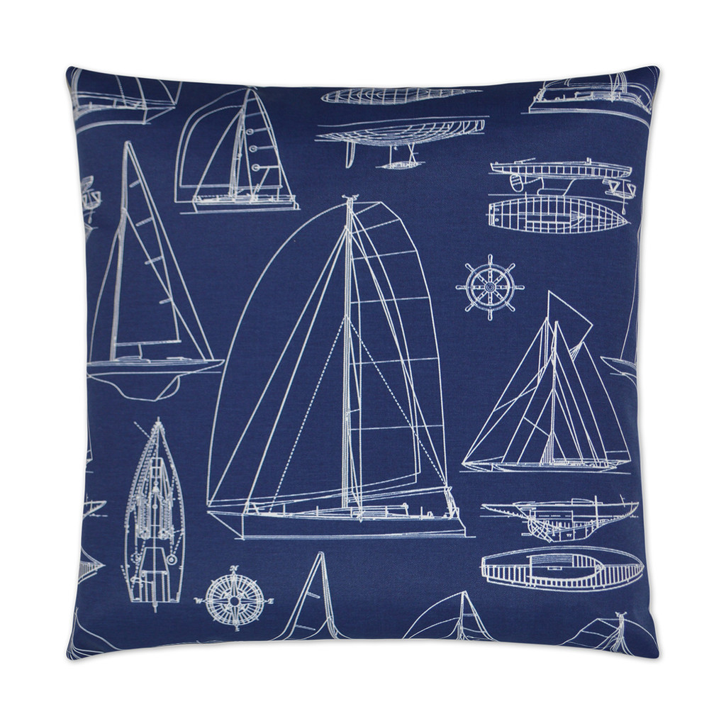 Sail Boat Outline Luxury Pillow - Navy