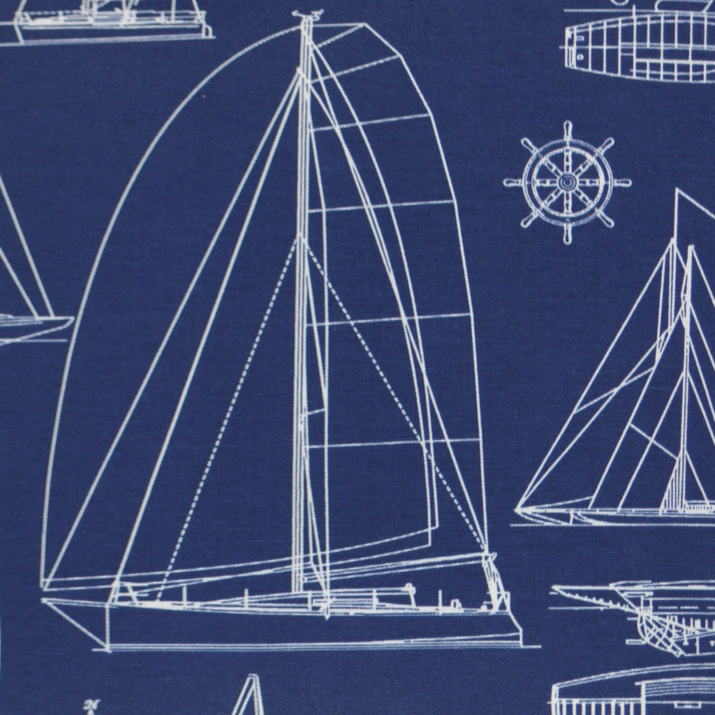 Sail Boat Outline Luxury Pillow - Navy fabric