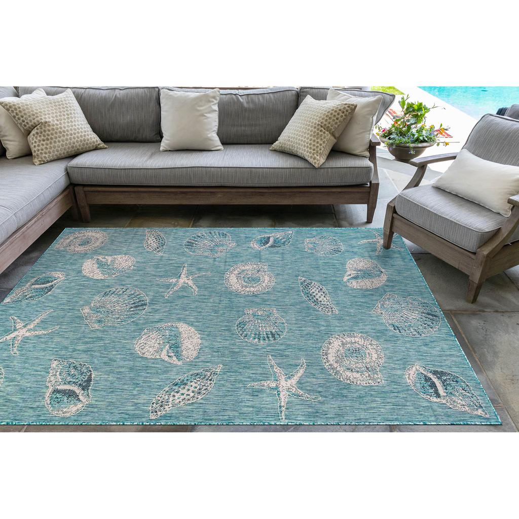 Aqua Carmel Shells Rug room image