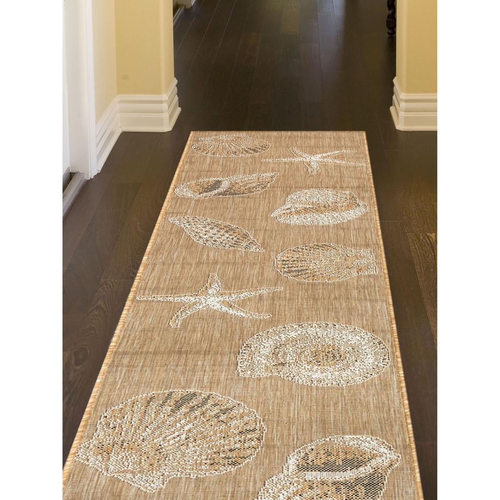 Taupe Carmel Shells Rug hallway image