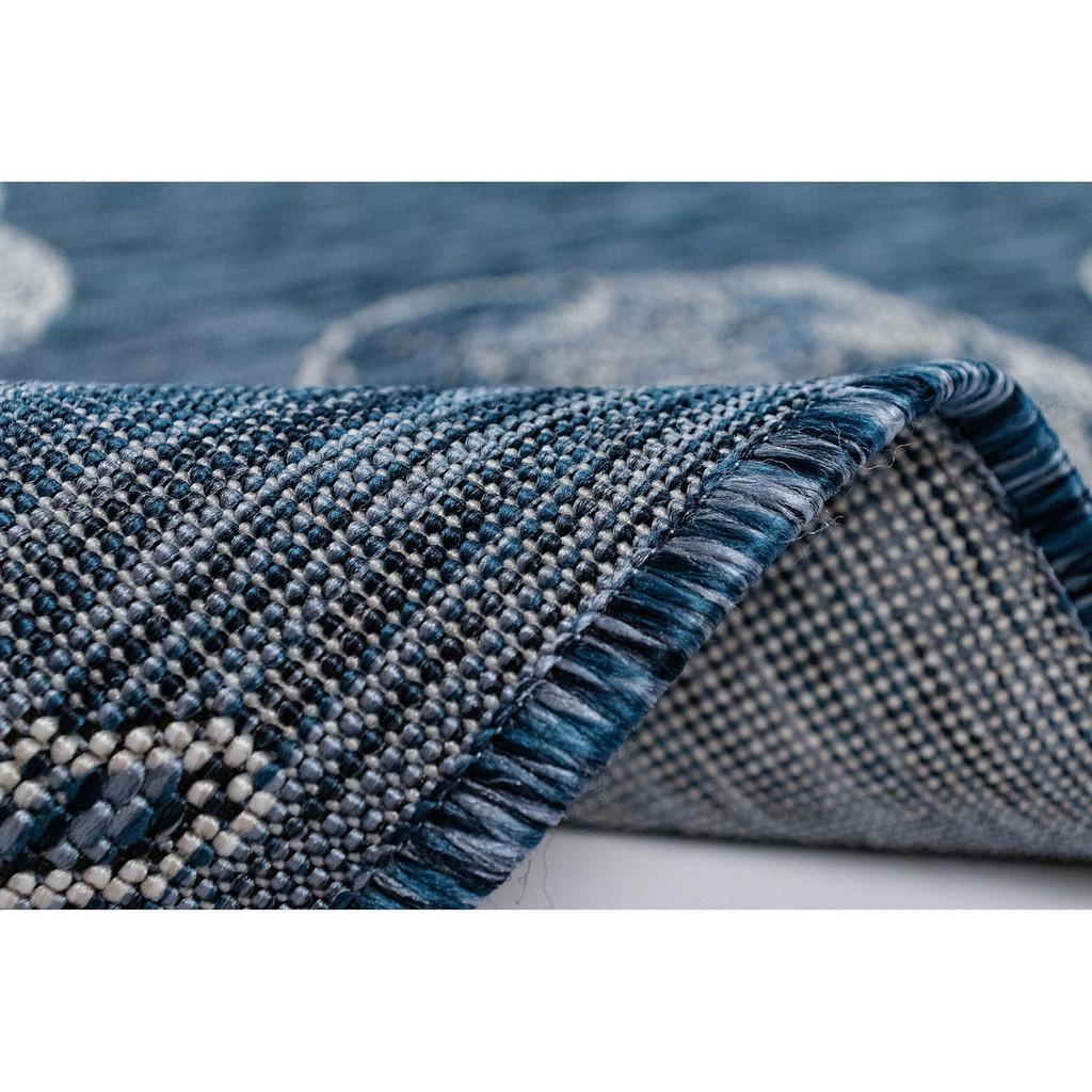 Blue Carmel Shells Rug pile and roll