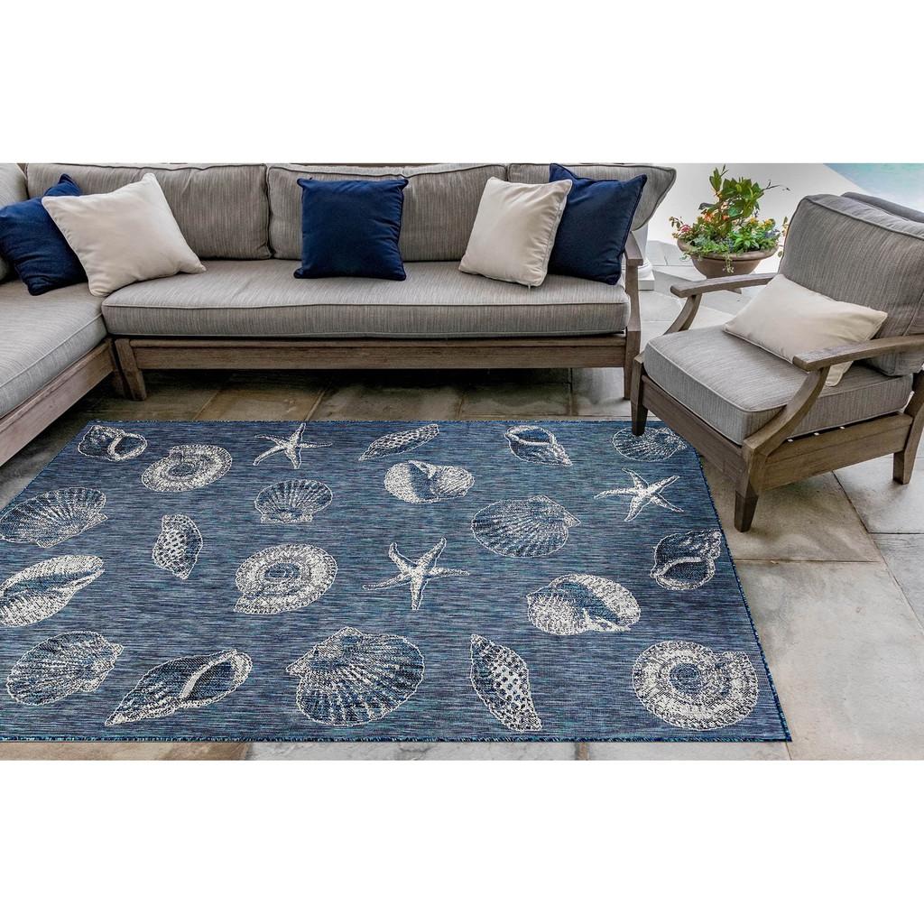 Navy Blue Carmel Shells Rug room image