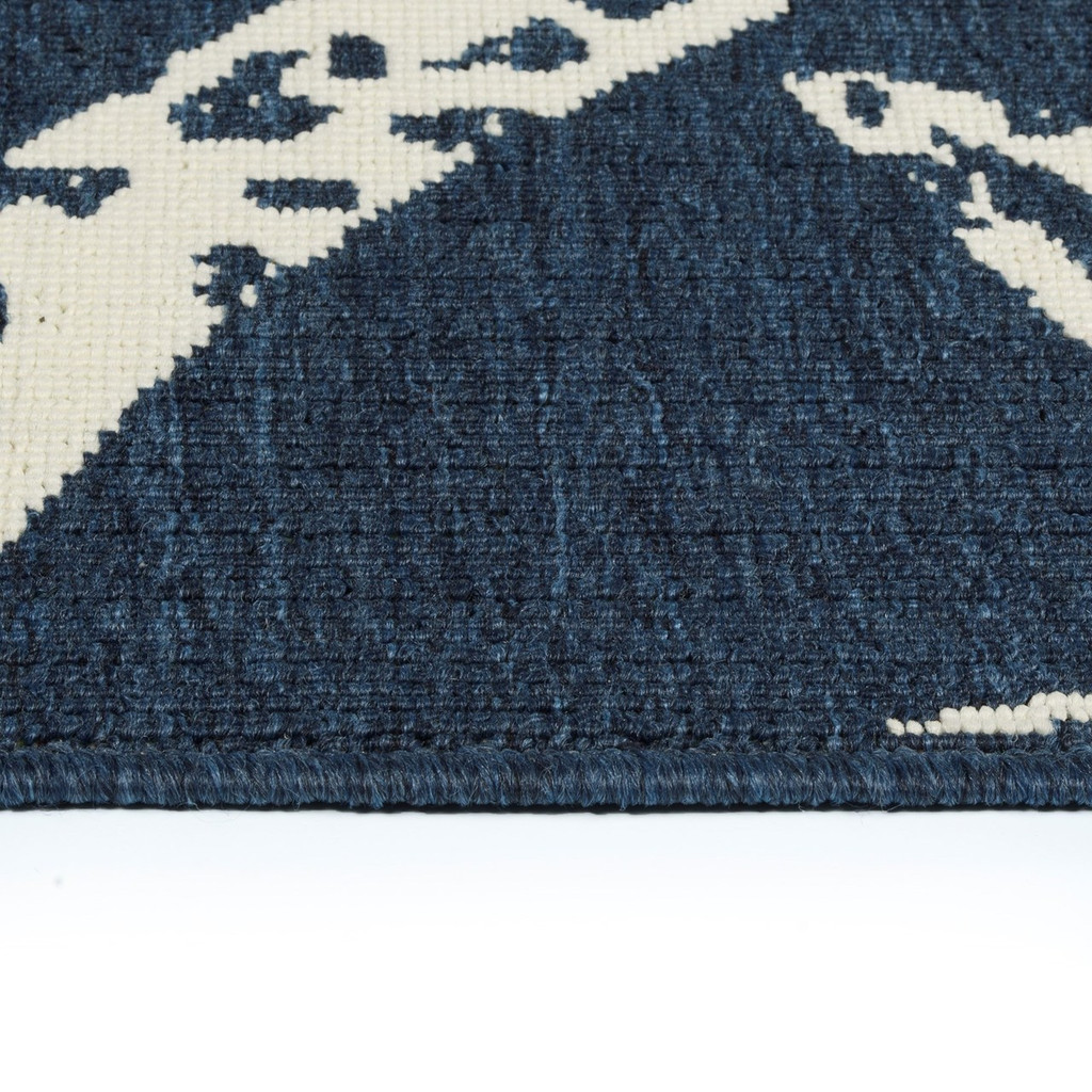 Navy Compass Rose Indoor-Outdoor Area Rug close up