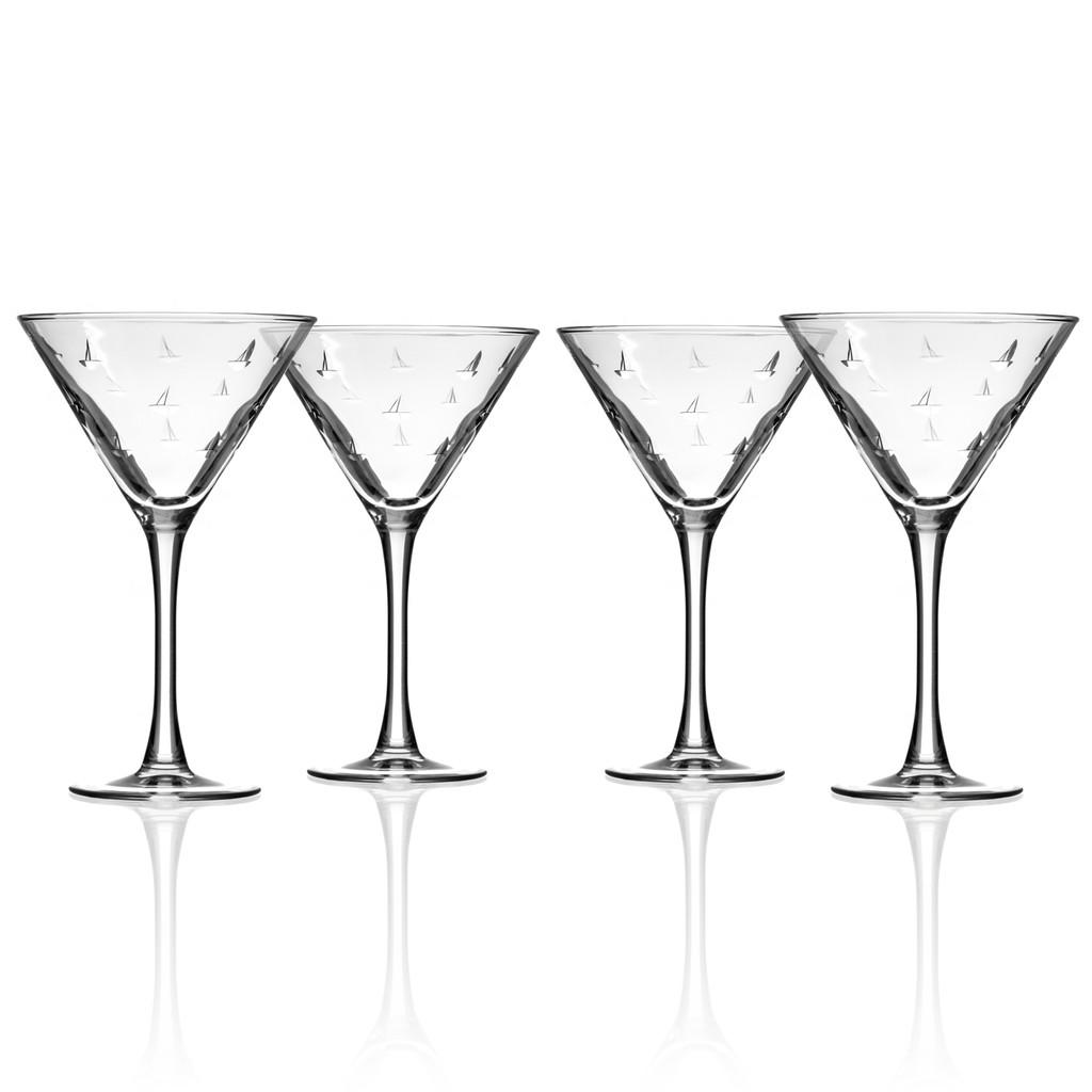 Sailing Etched Martini Glasses - Set of 4