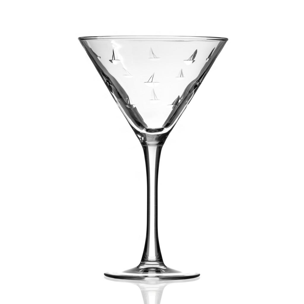 Sailing Etched Martini Glasses - Single glass