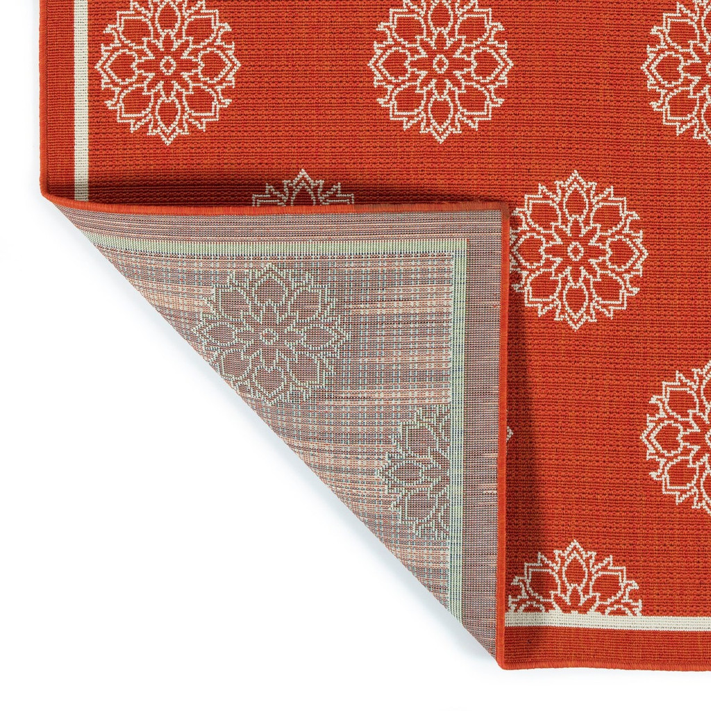 Tangerine Medallion Indoor-Outdoor Rug back