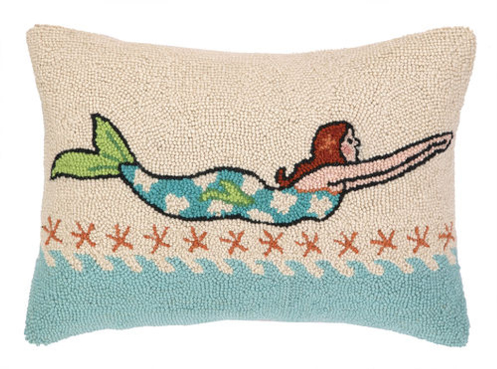 Brunette Diving Mermaid Hooked Pillow