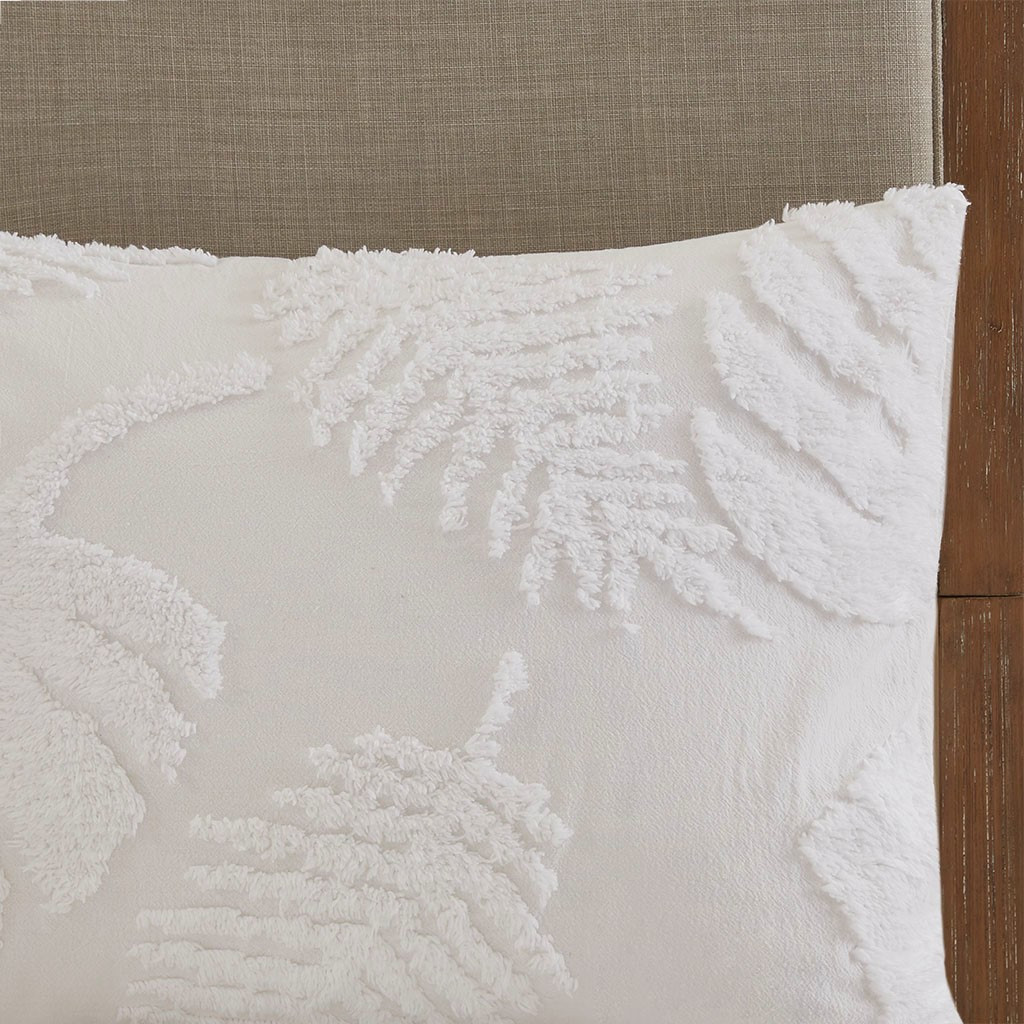 Bahama Palms Tufted Chenille King Comforter Set sham close up