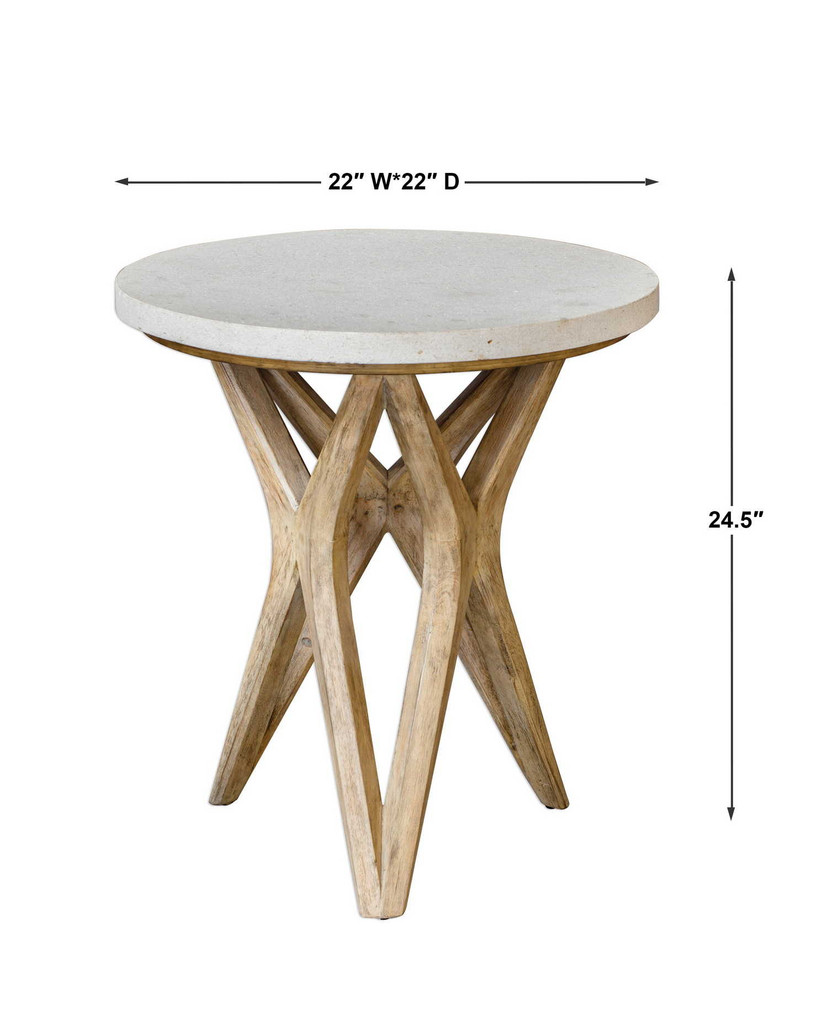 Marnie Limestone Accent Table measurements