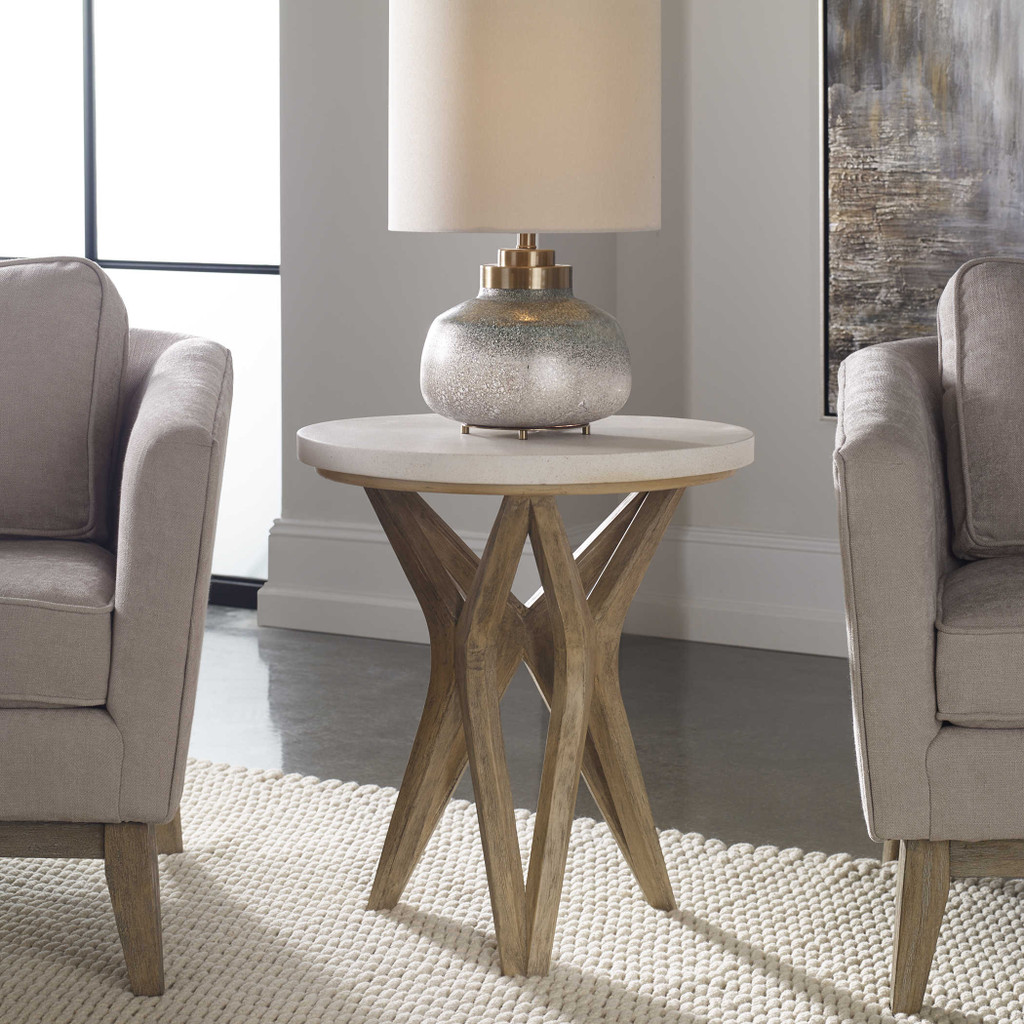 Marnie Limestone Accent Table room view 1