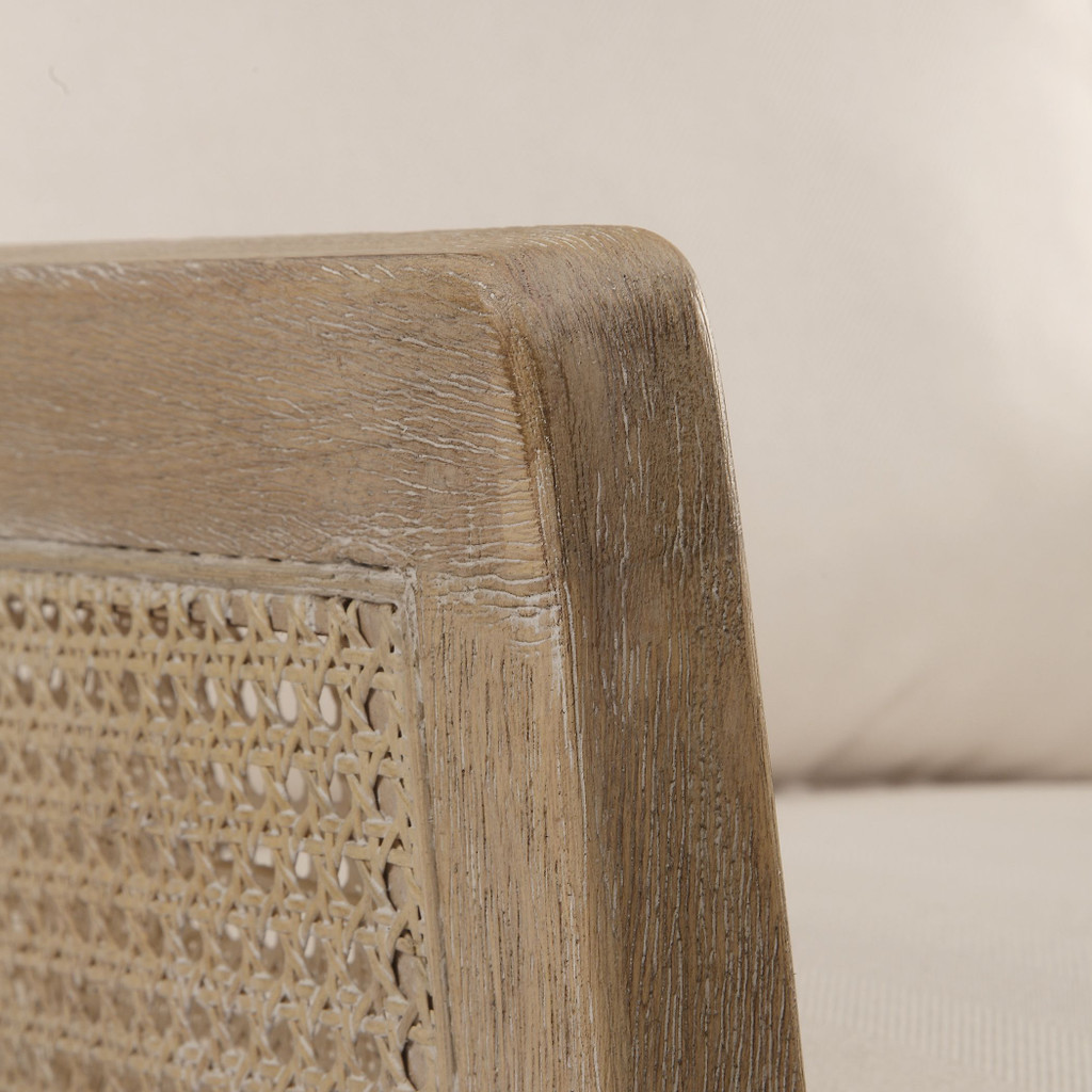 Encore Light Wash Natural Arm Chair close up cane and arm