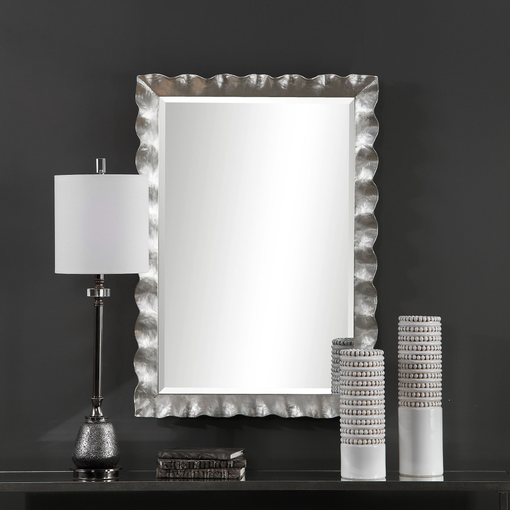 Haya Silvered Scallop Mirror room view 2