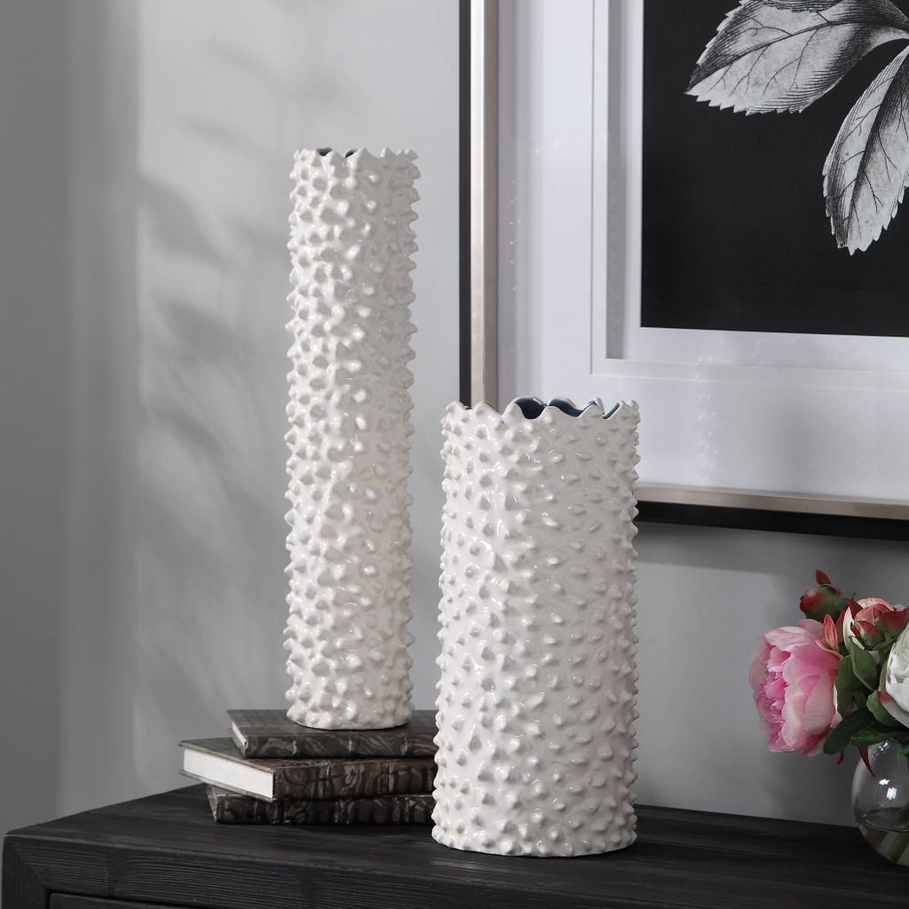 Fijian Reef White Vases - Set of 2 room view