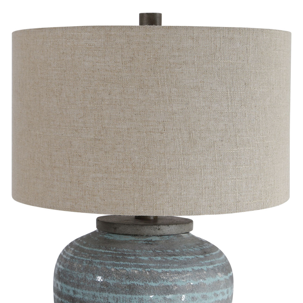 Pelia Light Aqua Striped Table Lamp close up 1