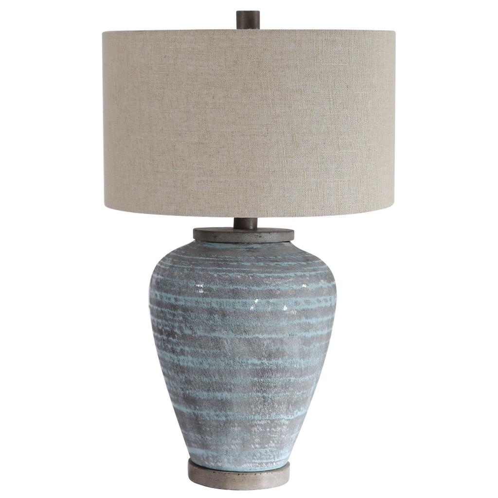 Pelia Light Aqua Striped Table Lamp