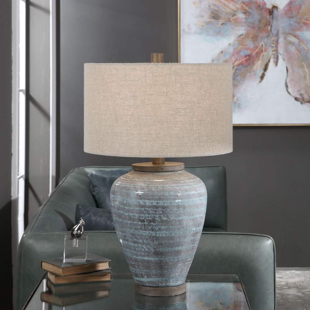 Pelia Light Aqua Striped Table Lamp room view