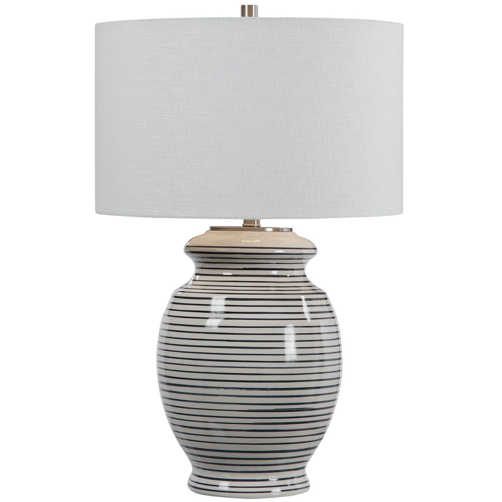 Sea Striped Navy and White Table Lamp