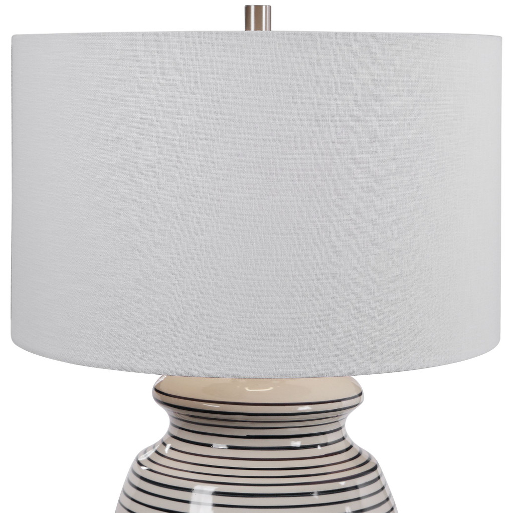 Sea Striped Navy and White Table Lamp close up