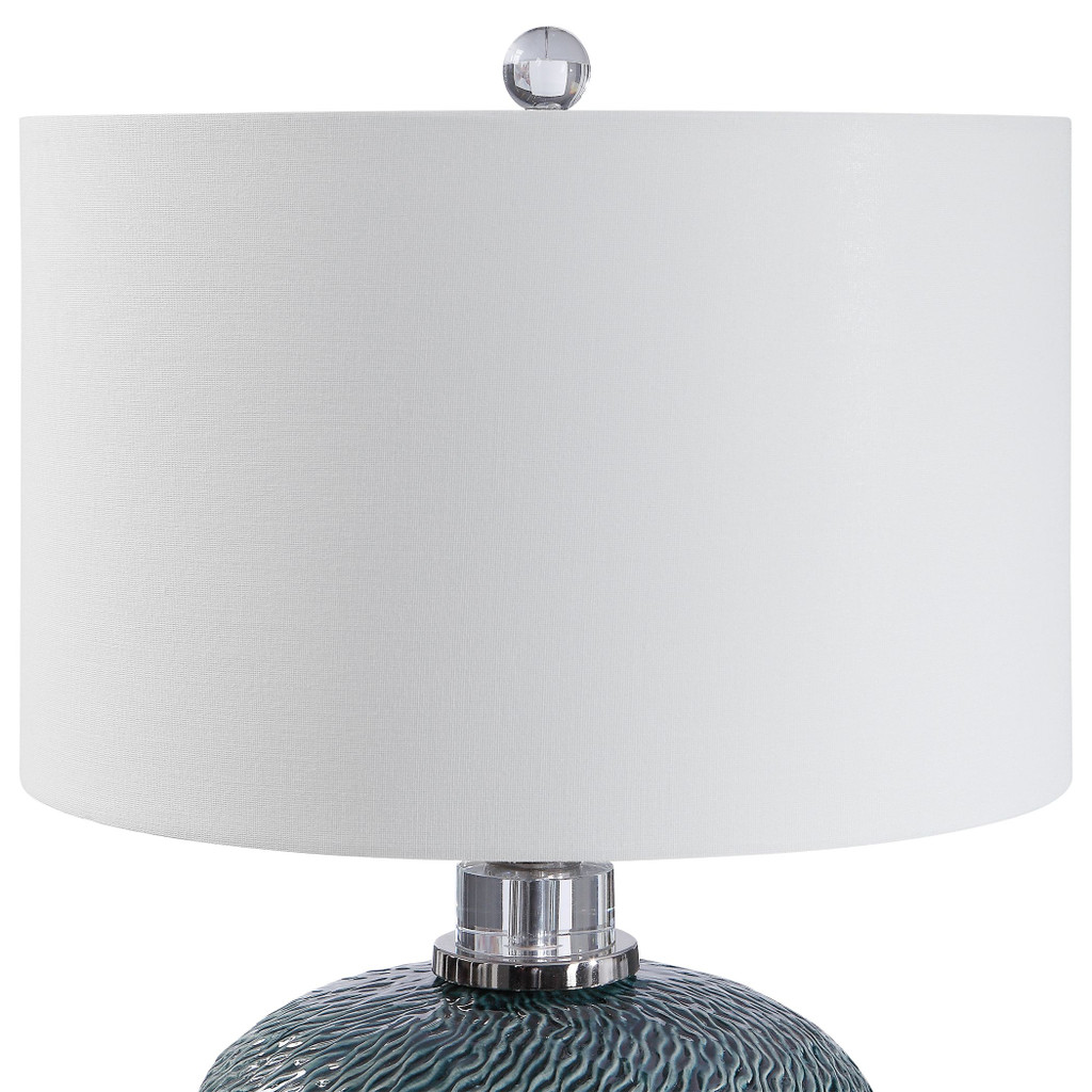 Almera Dark Teal Table Lamp shade close up
