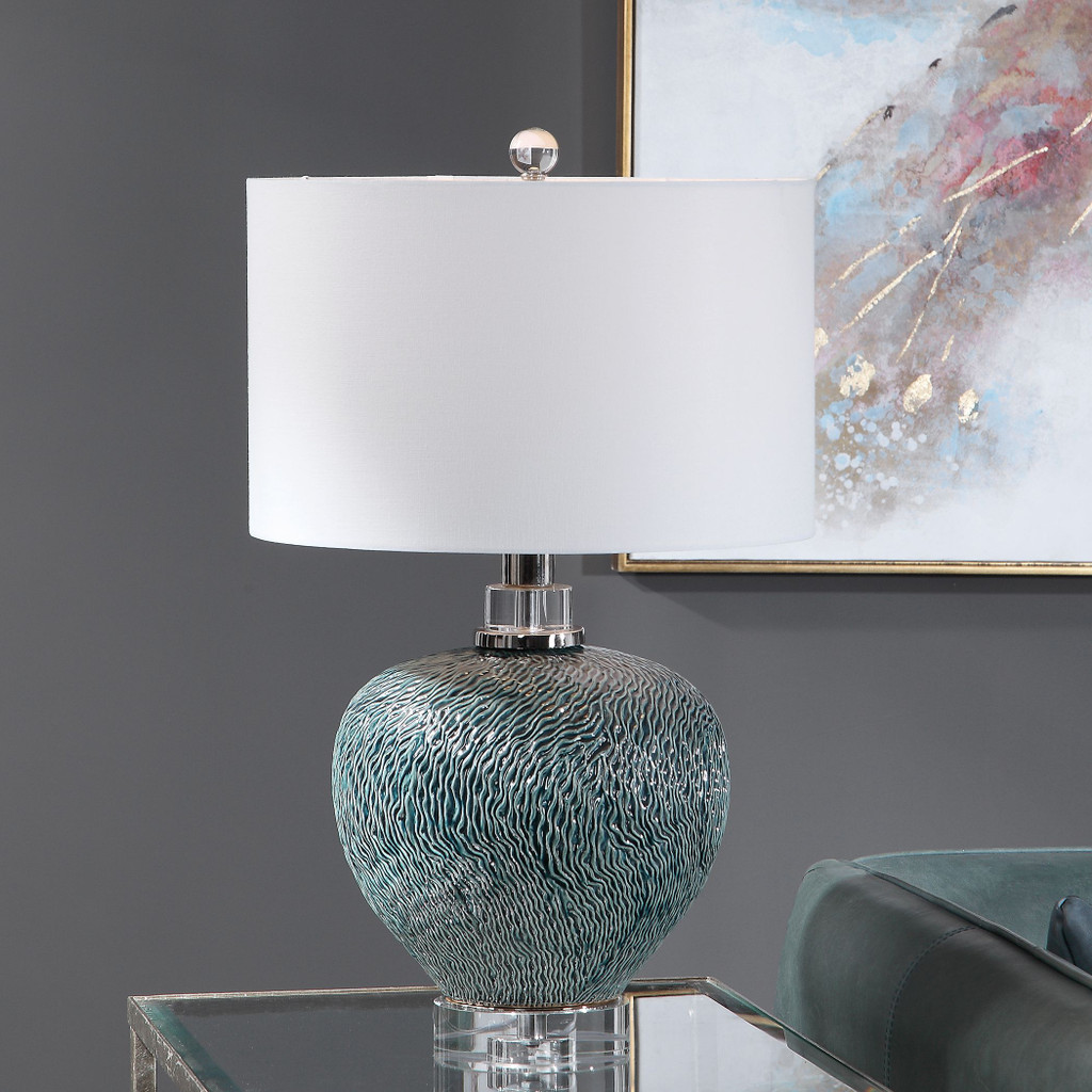 Almera Dark Teal Table Lamp room view light on