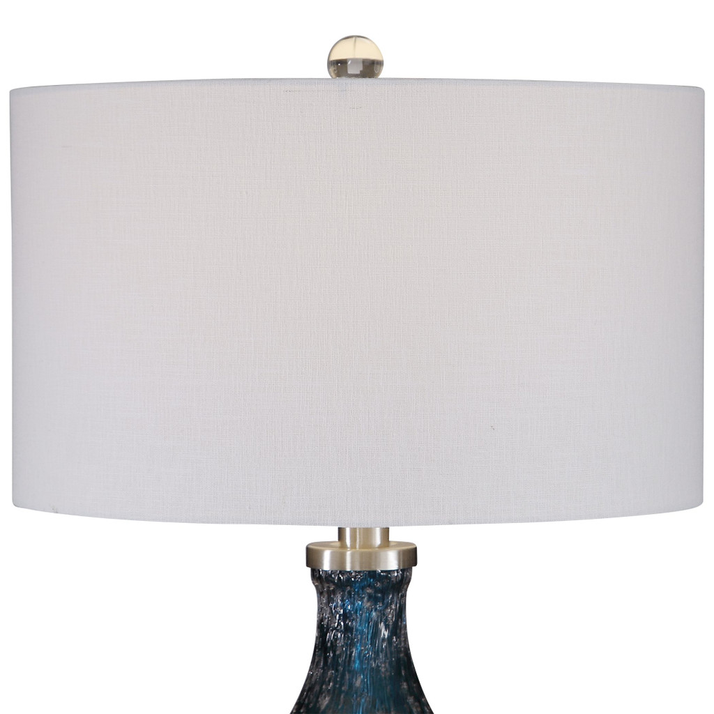 Cerulean Blue Seeded Glass Table Lamp shade and finial