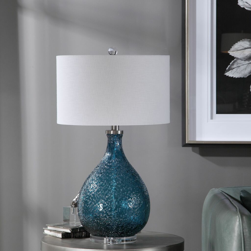 Cerulean Blue Seeded Glass Table Lamp room view 2